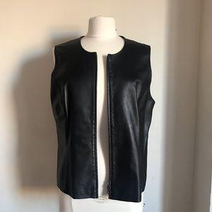 Black Soft Leather Motorcycle Biker Vest